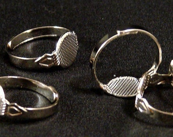 Silver Adjustable Ring Blank Bases Brass White Plated (15)