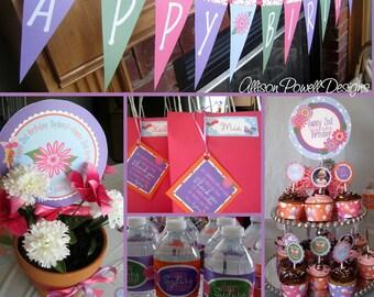 Flowers and Butterflies Birthday Invitation Custom Printable MEDIUM Party Package - DIY