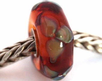 murano lampwork glass bead SRA artist handmade euro big hole bead lined with Sterling Silver - Made To Order - S904