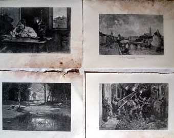 Antique French Prints, 34 full page Illustrations reclaimed from French magazine Revue Illustree 1886