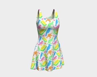 Cute 90s inspired Australian Native Animal Print - Skater Dress - Flare Dress - Kangaroo, Koala, Kookaburra, Possum, Lizard