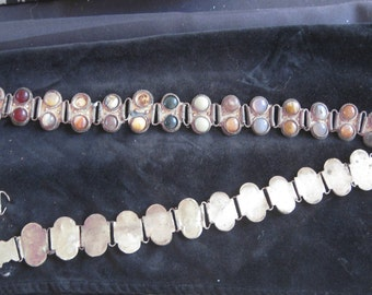 silver metal semiprecious stone belt from India