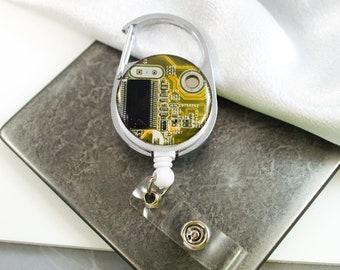 Yellow Circuit Board Retractable Badge Holder, Badge Reel, Geeky Office Gift, Wearable Technology, Geek Engineer Gift, Motherboard Gift