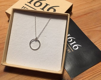 Sterling Silver Halo Necklace.