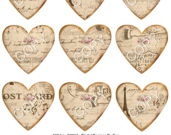 INSTANT DOWNLOAD  - Vintage  Hearts12 -  Digital Download - Printable  Digital Collage Sheet