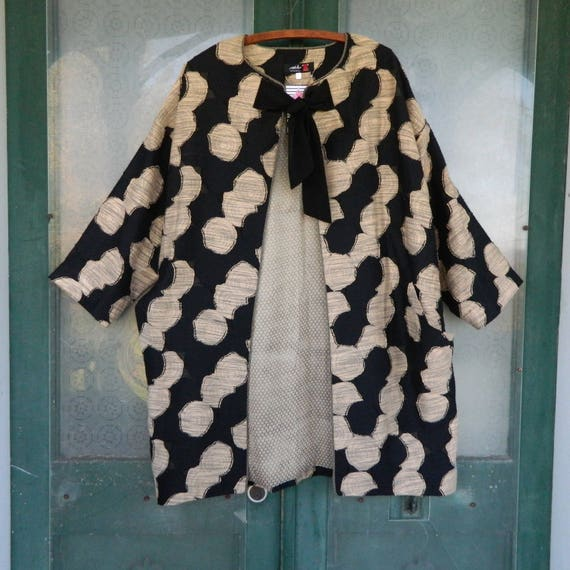 SALE - Ark Istanbul Long Evening Jacket -L- Black & Gold Circles Poly/Viscose NWT
