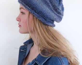 ON SALE Blue knit hat Blue Beanie hand knitted slouch beanie slouchy hat Winter hat