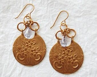 Vintage Inspired Embossed Solid Brass Crescent Lavender Swarovski Briolette Charm Necklace, ELO16922: Le Fleur