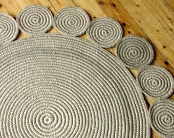 40 in Crochet jute circle rug / 100% naturals materials