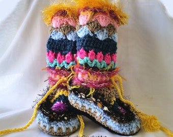 Crochet Slippers Crochet Slipper Boots Mukluks Boot Slippers Women's Slippers  Knee High Slippers Colorful Funky Handmade Knitted  Slippers