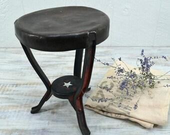 Vintage Metal Milk Stool - old rustic primitive with star design - Farmhouse Milking Stool