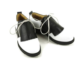 Black Leather Kilties for Mens Golf Shoes, Swing Dance Shoes, Lindy Hop Shoes, Golf Gift for Dad, Golf Stuff, Golf Gifts for Men, Pro Shop