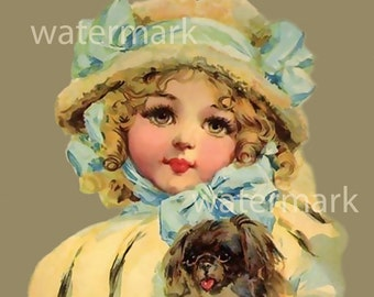 Instant Digital Download Printable Print Girl with Muff and Dog Child First Book Children's Book Cover Victorian