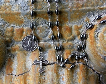 Handmade Rosary style necklace. Sterling silver crucifix and