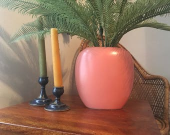 Japanese Coral/ Salmon Pink Slender Vase/ Ceramic Flower Holder/