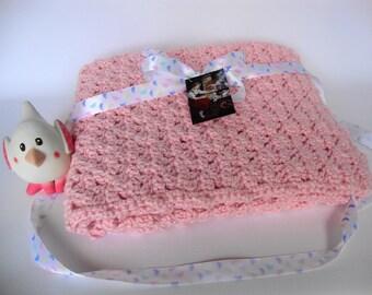 Crochet Baby Blanket, Baby Blanket Crochet, Alpaca Baby Blanket, Pink Baby Blanket, Crib Size Blanket, Baby Gift, Wild Rose Blanket