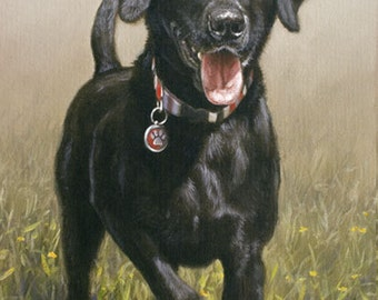 Aceo Dog Print, Black Labrador Retriever. From an Original Painting by JOHN SILVER. Personally signed. BL263AC