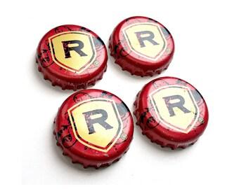 Craft Beer Magnet Set, REDDs Apple Ale Bottle Cap Magnets, Beer Bottle Top Magnets, Set of Four, File Cabinet Magnet, Refrigerator Magnets