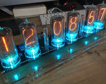 Museum quality large nixie clock 6 ZM1040 big tubes with RVB programmable leds in outstanding perspex case