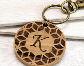 Personalised Geometric Initial Wooden Keyring