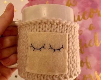 Hand Knit Cup Cozy- Sleepy Eyes