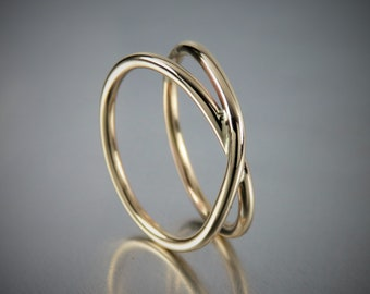 SOLID 14K Yellow Gold Ring, Solid 14K Gold Infinity Ring, X Ring, Criss Cross Ring, Engagement Rings, Promise Rings, Wedding Rings