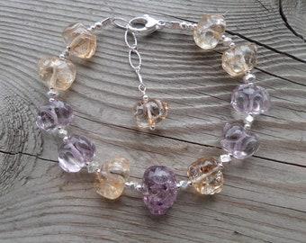 Genuine AAA Citrine/Amethyst (Ametrine) Sterling Silver Amazing Gemstone Birthstone Bracelet