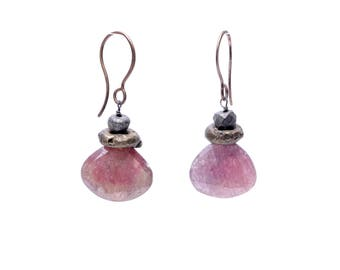 Raw Red Sapphire and Rustic Brass Teardrop Earrings