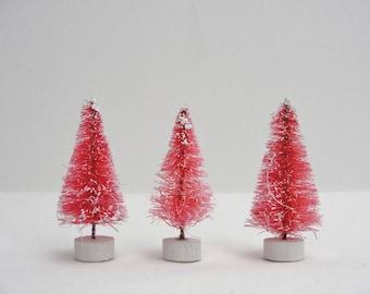"""Pink bottle brush sisal trees, 2"""" pink bottle brush trees, pink frosted sisal trees, set of 3"""
