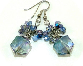 MAJOR MARKDOWN - Periwinkle Sapphire Blue Wire Wrapped Crystal Cluster Statement Earrings