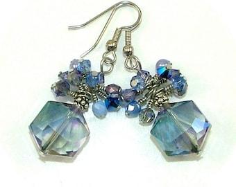 GRANDES DÉMARQUES - Pervenche fil bleu saphir cristal déclaration boucles d'oreilles