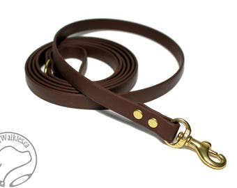 """Dark Chocolate Brown Small Dog Leash - 1/2"""" (12mm) - Light Biothane Dog Leash - Choice of: 4ft, 5ft or 6ft (1.2m,1.5m or 1.8m) and Hardware"""