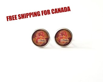 Harry Potter earrings Gryffindor, stainless steel, yellow and red, Paradis des Bijoux,quebec, canada