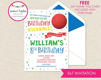Kickball Birthday Invitation, Kickball Birthday, Kickball Printables, Kickball Birthday Decorations, Lauren Haddox Designs