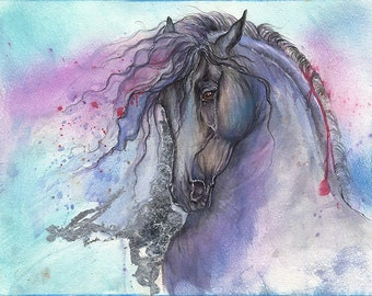 friesian horse, equine art, equestrian, original gilded pen and watercolour painting