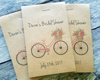 Brand New! RUSTIC Bicycle Wildflower Design - Seeds Let Love Grow Flower Seed Packet Favor Shabby Chic Cute Favors for Bridal Shower Wedding