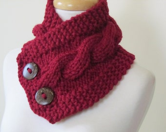 """Knit Neck Warmer, Cable Knit Scarf,  Chunky Warm Winter Scarf in Cranberry 6"""" x 25"""" Coconut Shell Buttons Ready to Ship - Gift for Her"""