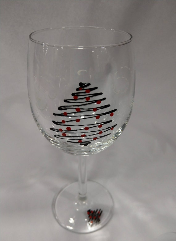 Hand Painted Wine Glass - Christmas tree in black with red ornaments Unique