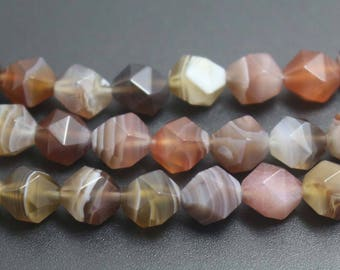 8mm  Botswana  Agate Faceted Beads,Natural Faceted Botswana Agate Beads,15 inches one starand