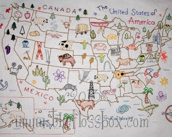 Map of the United States Embroidery Pattern