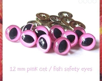 12 mm PINK Cat / Fish Eyes for Amigurumi eyes Plastic eyes - 5 PAIRS (12PC)