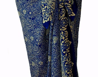 Beach Sarong Pareo Wrap Skirt Womens Clothing Chiffon Sarong Swimsuit Coverup Women's Elegant Navy Blue Chiffon Pareo Batik Sarong - Gift