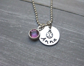 925 Sterling Silver Ladybug Necklace Name Necklace Birthstone Hand Stamped Personalized Jewelry Teen Jewelry Tween Necklace Ladybug Jewelry