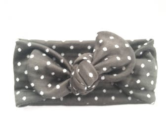 Polka Dot Baby Headband // Baby Headwraps // Baby Topknot // Grey Polka Dotted Headband // Newborn Headbands // Gifts for a Baby Girl