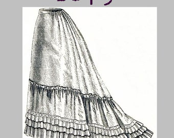 Muslin Petticoat  - Victorian Reproduction PDF Pattern - 1870's - made from original 1875 pattern