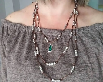 Triple Collar. Ethnic necklace. Necklace with Glass. 50 style one necklace.