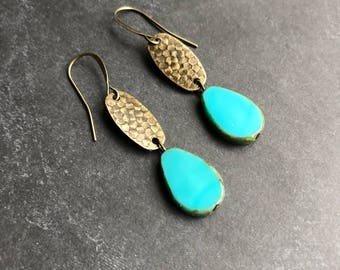 Czech glass earrings beaded earrings antique brass earrings boho earrings bohemian earrings blue earrings rustic earrings dangle earrings
