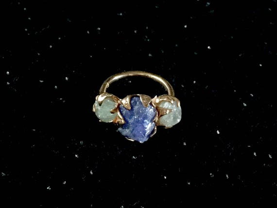 Solid Rose Gold 10K Rough Raw Grey White Sapphire + Purple Blue Tanzanite Triple Gemstone One of a Kind Ring Size 7, 7.5, 8
