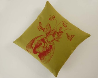 Human Lungs Heart Growing Wildflowers silkscreened cotton canvas throw pillow 18 inch avocado green red