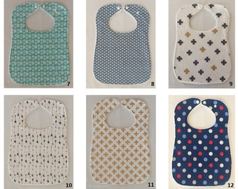 Large feeding bib / Baby bib / Absorbent towel backing / Stylish bib